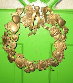 Antique All Hearts  Brass Dresden Metal Wreath by HartsCloset