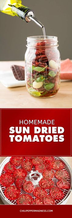 How to Make Sun Dried Tomatoes - with a Dehydrator - Recipe Steps How to Make Sun Dried Tomatoes - w Canning Recipes, Raw Food Recipes, Canning Tips, Jar Recipes, Freezer Recipes, Freezer Cooking, Drink Recipes, Cooker Recipes, Recipies