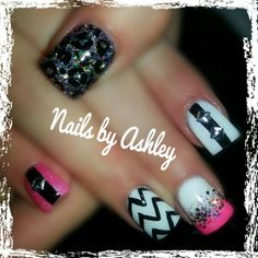 Hit pink chevron leopard sparkle glitter stripe with square studs gel nails