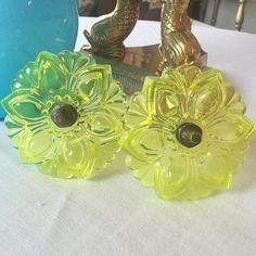 """Yellow antique glass flower curtain tie backs. 4.5"""" $58  Comment sold with your zip and email to purchase. #shopthealist #instavintage"""