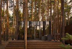Great architecture in the woods. We'd love to stay here. The black, reflecting facade works perfectly here!