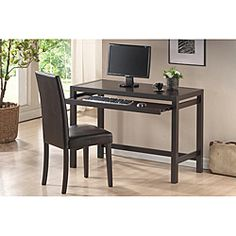 @Overstock - With a lovely dark espresso brown solid rubberwood, this modern writing desk allows you to work in style. A matching dark brown wood and faux leather, padded chair complete this two-piece set.http://www.overstock.com/Home-Garden/Astoria-Brown-Modern-Desk-and-Chair-Set/6442469/product.html?CID=214117 $164.99