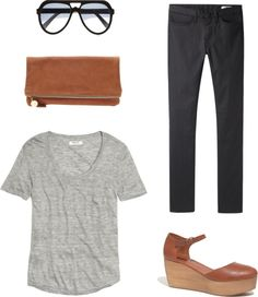 Rebecca Lately // Weekending Inspiration // sunglasses // skinny jeans // grey tee // cognac clutch // cognac clog flatforms