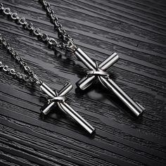 Simple and unique, these ringed cross necklaces are perfect for every couple. Item details: Available for Men and Women (Sold Separately) Women's Pendant Size: