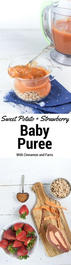 Sweet Potato + Strawberry Baby Puree with Cinnamon and Farro - A Great . , Sweet Potato + Strawberry Baby Puree with Cinnamon and Farro - a great, chunky puree combination for your little ones! Baby Puree Recipes, Pureed Food Recipes, Baby Food Recipes, Strawberry Baby, Strawberry Recipes, Toddler Meals, Kids Meals, Toddler Food, Baby Food Combinations