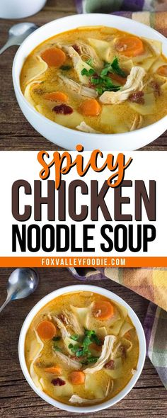This spicy chicken noodle soup will warm your soul on a cold winter day, or any time of year you crave spoonfuls of spicy chicken broth. This creamy soup is loaded with tender shredded chicken, chunky vegetables, and just enough chipotle peppers to make your tastebuds sing! Best Soup Recipes, Chowder Recipes, Delicious Dinner Recipes, Spicy Recipes, Chicken Recipes, Spicy Chicken Noodles, Chicken Noodle Soup, Homemade Soup, Shredded Chicken