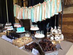 Rustic Lace & Burlap Tiffany Blue and Peach Wedding Dessert Buffet Www.facebook.com/wildflourcakesbyheather