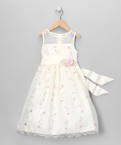Take a look at this Ivory & Pink Rosette Dress - Girls by Princess Faith on #zulily today!