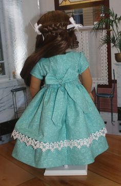 American Girl 1850s Dress in Aqua Blue by RuthielovestoSew on Etsy