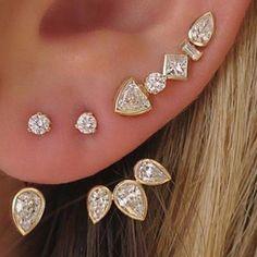Liliana Skye   Five Diamond Ear Cuffs Gold #earcuffs #gold #earcuffearring #earpiercings #trendy #earrings #earclimbers