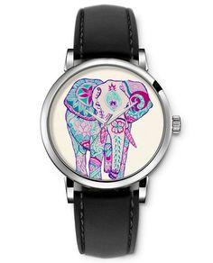 SPRAWL Vintage Style Animal Watches for Teens Girls Boys Analog Quartz Wrist Watch Black Genuine Leather Strap -- Pink Floral Elephant