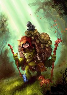 Caperucita y Don tortuga Picture  (2d, fantasy, creature, child, animals, troll)