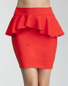 bebe Peplum Knit Pencil Skirt