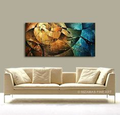 Original Abstract Modern Contemporary Painting, Rust, Blue, Ochre, Ready to Hang…