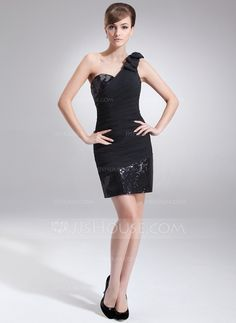 Sheath/Column One-Shoulder Short/Mini Chiffon Sequined Cocktail Dress With Ruffle Bow(s) (016008379)