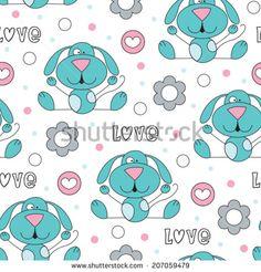 cute love dog pattern vector illustration - stock vector