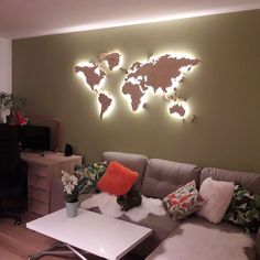 Light Wood Wall Map Of the World Map Wall Art Large Travel LED Map Rustic Home Office Decor 5th Anniversary First Home Gift for Wife Parents
