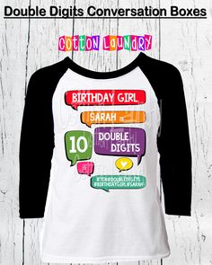 DOUBLE DIGITS 10thTenth Birthday Girls 10 Year Old Raglan Baseball Style Tee Shirt