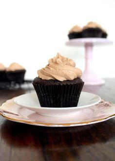 Ferrero Rocher-Stuffed Chocolate Cupcakes with Nutella Buttercream