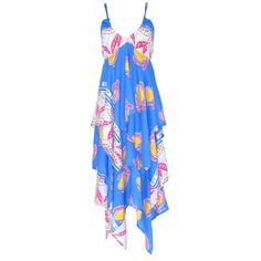 Lalesso Fair Trade Matatu Blue Tropical Print Layer Dress ($185) ❤ liked on Polyvore featuring dresses, dresses., blue dress, summer cocktail dresses, blue cocktail dress, tropical print dresses y tailored dresses