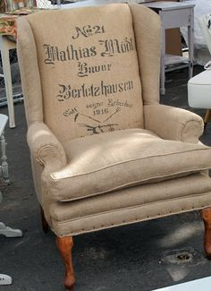 burlap chair ....Queen Anne style chair...re-upholstered in Burlap....Wax paper transfer....