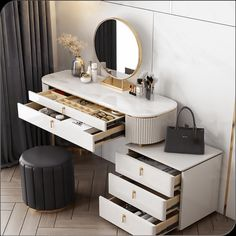 Featuring a sintered stone top and plenty of large-capacity drawers to store your cosmetics, this vanity table is perfect for your make-up wearing. #makeup #dressingtable #vanitytable White Makeup Vanity, Makeup Table Vanity, Vanity Set, Minimal House Design, Dressing Table Design, Dressing Mirror, Furniture Vanity, Modern Vanity, Home Room Design