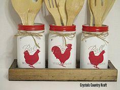 Chicken utensil holder set with rustic wood box Farmhouse Farmhouse Kitchen Canisters, Kitchen Canister Sets, Farmhouse Decor, Rustic Kitchen, Country Kitchen, Red Farmhouse, Kitchen Storage, Rustic Decor, Mason Jar Art