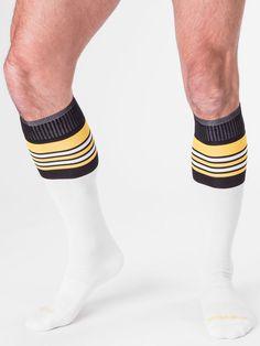 barcode Berlin Football Socks, weiß/schwarz/gelb, 90143/215, sexy, SALE