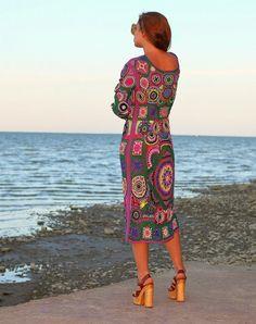 SOLD Crochet dress Bohemia Hand knitting dress Hippie от Balarri