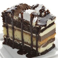 A rich and dreamy white and dark chocolate layered cake