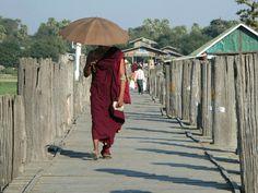 Monk on U- Bein- Bridge, Amarapura, Myanmar Inle Lake, Yangon, Mandalay, Buddhism, Bridge, Wings, Album, Sunset, Asia