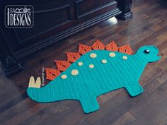 Spiky the Stegosaurus Dino Rug PDF Crochet Pattern
