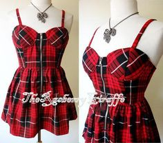 NEW Forever 21 Red Black Plaids Check Bustier Babydoll Exposed Zipper Tunic Top in Clothing, Shoes & Accessories, Women's Clothing, Tops & Blouses Emo Dresses, Cute Dresses, Fashion Dresses, Dressy Dresses, Punk Outfits, Cool Outfits, Tartan Dress, Plaid Tunic, Rockabilly Fashion