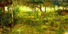 """""""Captain John's Orchard"""" Oil 12.5"""" x 25"""", 22 karat gold leaf custom frame ©Richard Schmid 2016 ©This image is under strict copyright to the artist and may not be reproduced in any form.."""