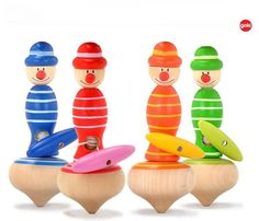 4 colors kids brand Gokie wooden rope spinning tops, Children classic toys /wood clown tops, 1pc/pack, free shipping