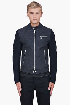 Dsquared Charcoal Combo Wool Biker Jacket... Simply exquisite in its tailoring and style.
