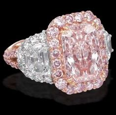 Platinum & 18kt pink gold ring with radiant-cut natural light pink and white diamonds