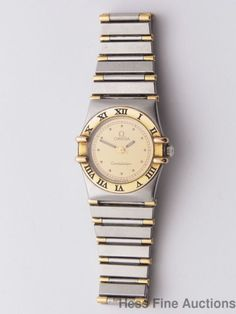 Genuine 18k Gold Stainless Steel Two Tone Omega Constellation Ladies Watch #Omega
