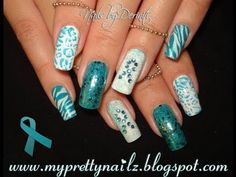 PCOS and Ovarian Cancer Awareness Nails Easy Nail Art Design Tutorial