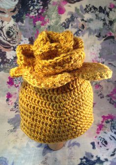 Crochet baby girl yellow rose hat by RHArtsLab