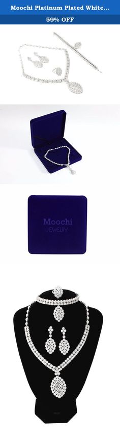 Moochi Platinum Plated White Zircon Embedded Hollow Flower Pedant Necklace Brass Jewelry Set. This platinum plated broze jewelry set is shinning and beautiful. The color will never fade and we have one year warrant. It is the best gift for yourself, your friends and family.