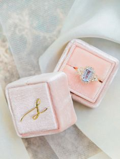 pink luxe mrs box engagement ring with initial