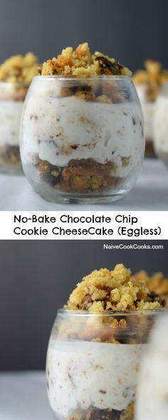 No Bake Chocolate Chip Cookie CheeseCake (Eggless) is a perfect summer #nobake dessert! #ad #nobake #cheesecake #chocolate #cookies #chocolatechipcookies #almondbreeze #almondmilk NiveCookCooks.com