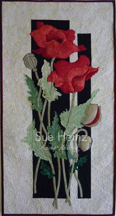 Poppies by Sue Heinz | Kismet Quilting. Pattern by Dragonfly Studio.