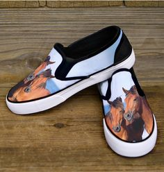 Cute Chincoteague Ponies Slip On Shoes