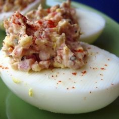 Ham-Stuffed Deviled Eggs - a great way to use leftover Easter ham and dyed Easter eggs