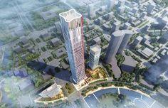 Optics Valley Center: oficinas y comercios para Wuhan (China). Goettsch Partners ganó el concurso para el complejo Optics Valley Center en Wuhan. Incluye 3 edificios, uno de ellos es un rascacielos de oficinas de 400m. Esta torre tiene un diseño de líneas suavizadas, con esquinas redondeadas, y es más estrecho en su coronación. En la base se han dispuesto unos jardines, que ayudan a conectar el sitio con el resto de la ciudad.  #Arquitectura