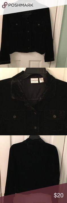 Chico's black velvet jacket. Beautiful and dressy Chico's black jacket.  Excellent condition.  Lightweight and very soft.  Made of 72% Rayon, 28% Nylon. Jacket measures 21 inches in length, 20 inches in width. Chico's Jackets & Coats Blazers