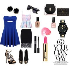 Party Look by kanikakamra on Polyvore featuring Miss Selfridge, Tory Burch, Jimmy Choo, Alexander McQueen, Movado, B. Brilliant, NARS Cosmetics, Guerlain, Christian Dior and Clinique