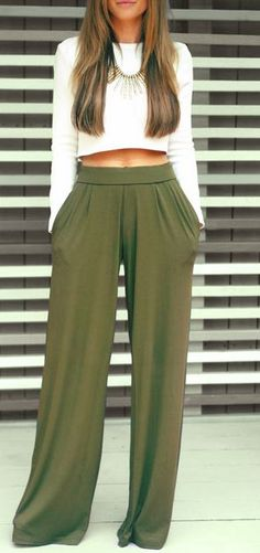 Wide leg pants, crop top.